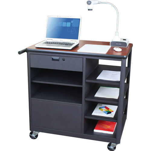 Our Vizion Presenter Mobile Teacher Workstation with Acrylic Door and Four Side Shelves - Cherry Laminate is on sale now.