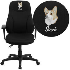 Embroidered High Back Black Fabric Multifunction Ergonomic Swivel Task Chair with Adjustable Arms