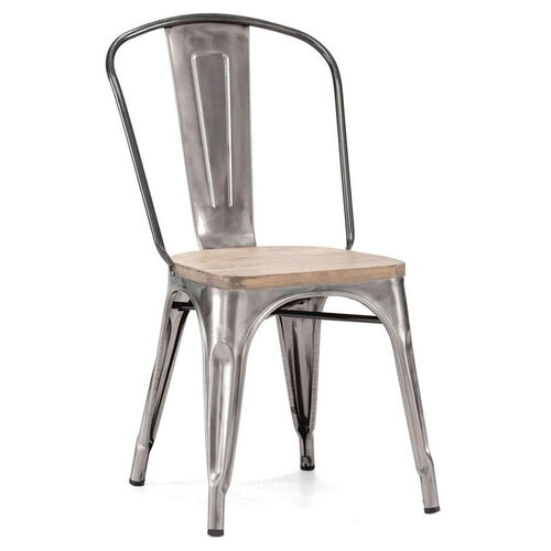 Our Dreux Clear Gunmetal Stackable Steel Side Chair with Light Elm Wood Seat - Set of 4 is on sale now.