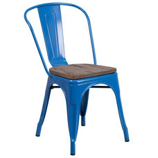 Blue Metal Stackable Chair with Wood Seat