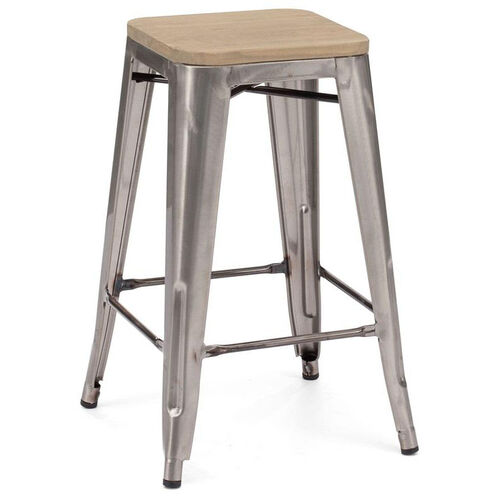 Our Dreux Clear Gunmetal Stackable Steel Counter Stool with Light Elm Wood Seat - Set of 4 is on sale now.