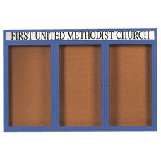 3 Door Indoor Illuminated Enclosed Bulletin Board with Header and Blue Powder Coated Aluminum Frame - 48
