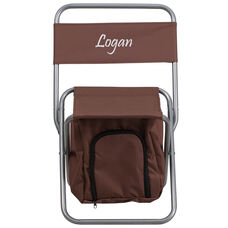 Embroidered Folding Camping Chair with Insulated Storage in Brown