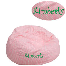 Personalized Small Light Pink Dot Bean Bag Chair for Kids and Teens