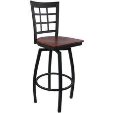 Advantage Window Pane Back Metal Swivel Bar Stool - Mahogany Wood Seat