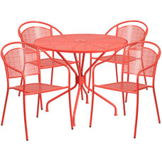 """Commercial Grade 35.25"""" Round Coral Indoor-Outdoor Steel Patio Table Set with 4 Round Back Chairs"""