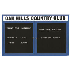 2 Door Outdoor Enclosed Directory Board with Header and Blue Anodized Aluminum Frame - 48