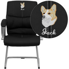 Embroidered Black LeatherSoft Executive Side Reception Chair with Silver Sled Base