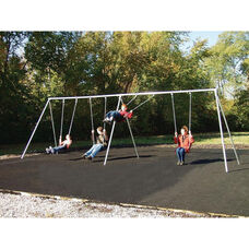 Four Seat Primary Bipod Swing Set with Galvanized Swing Chains and Thirteen Gauge Steel Frame - 120