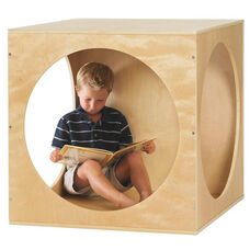 Birch Hardwood Playhouse Cube Frame with Three Solid Panels and Three Circular Cutouts
