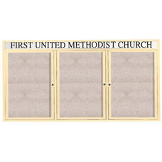 3 Door Outdoor Enclosed Bulletin Board with Header and Ivory Powder Coated Aluminum Frame - 36