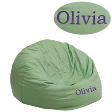 Personalized Small Solid Green Bean Bag Chair for Kids and Teens