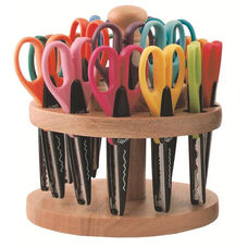 18 Piece Art KraftEdgers with Natural Hardwood Rack - Various Patterns