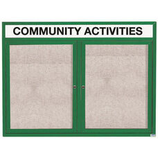 2 Door Outdoor Enclosed Bulletin Board with Header and Green Powder Coated Aluminum Frame - 36