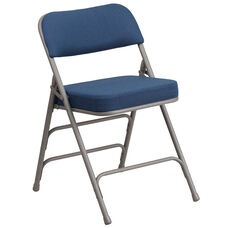 HERCULES Series Premium Curved Triple Braced & Double Hinged Navy Fabric Metal Folding Chair