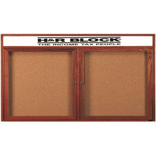 2 Door Enclosed Bulletin Board with Header and Cherry Finish - 36