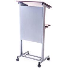 Adjustable Height Mobile Presentation Lectern with 2 Dark Walnut Laminate Shelves - 23.5