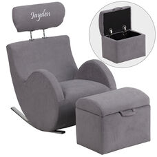 Personalized HERCULES Series Gray Fabric Rocking Chair with Storage Ottoman