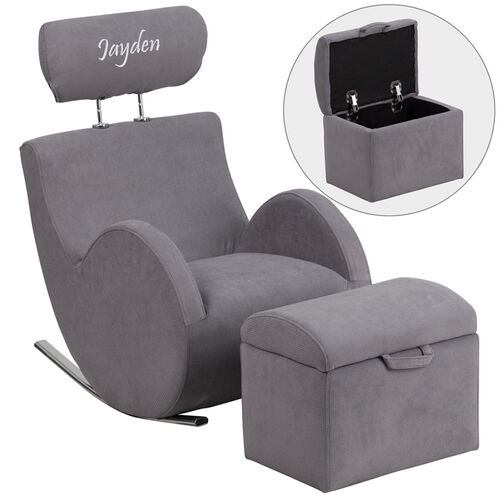 Our Personalized HERCULES Series Gray Fabric Rocking Chair with Storage Ottoman is on sale now.