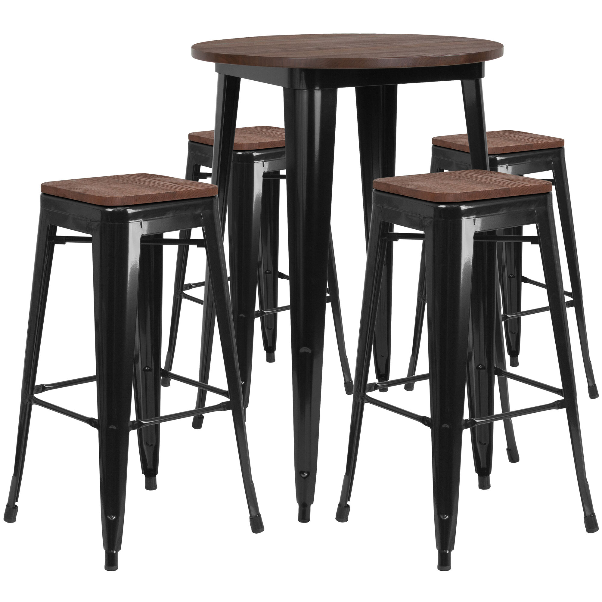 Excellent 30 Round Black Metal Bar Table Set With Wood Top And 4 Backless Stools Gmtry Best Dining Table And Chair Ideas Images Gmtryco