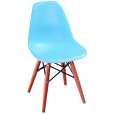 Kids Shell Plastic Side Chair with Wood Legs - Blue