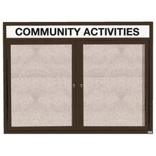 2 Door Outdoor Enclosed Bulletin Board with Header and Black Powder Coated Aluminum Frame - 48