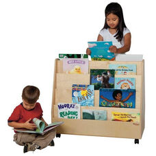 Double Sided Rolling Book Display with Eight Shelves and Heavy Duty Casters - Assembled - 30