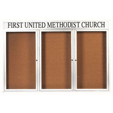 3 Door Indoor Enclosed Bulletin Board with Header and White Powder Coated Aluminum Frame - 48
