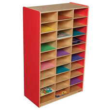 Strawberry Red Heavy Duty Mailbox Storage and Distribution Center with Thirty Storage Shelves - Fully Assembled - 30