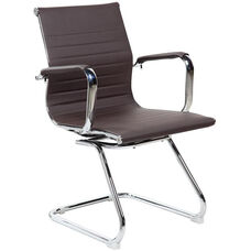 Techni Mobili Modern Visitor Office Chair with Chrome Frame - Chocolate