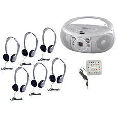 Silver and Gray Personal Headphone Listening Center with Boombox and Individual Volume Control Jackbox - Set of 6 Headphones