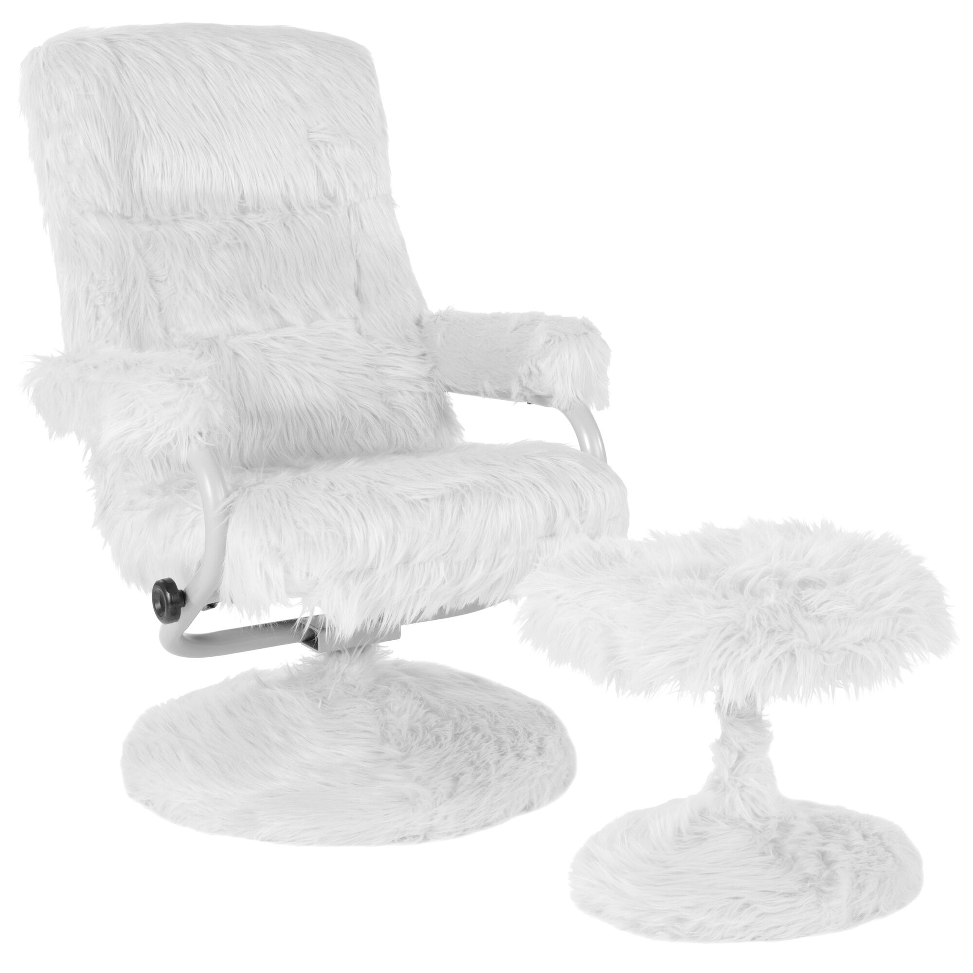 Admirable East Side Contemporary Multi Position Recliner And Ottoman In White Fur Alphanode Cool Chair Designs And Ideas Alphanodeonline