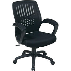 Work Smart Screen Back Contoured Shell Office Chair with Mesh Seat and Seat Height Adjustment - Black