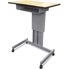 Focus Desk™ XT Height Adjustable with Book Box and Furniture Casters - Powdercoat Silver Paint and Kensington Maple Laminate