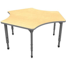 Apex Series Height Adjustable Delta Activity Table - Fusion Maple Top with Gray Edge and Legs - 60