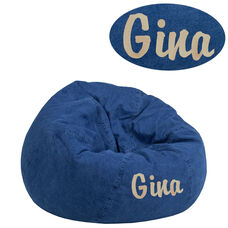 Personalized Small Denim Bean Bag Chair for Kids and Teens