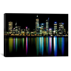 Downtown City Lights by Unknown Artist Gallery Wrapped Canvas Artwork