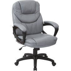 Work Smart Faux Leather Managers Chair with Padded Loop Arms - Charcoal Grey