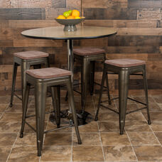 "24"" High Metal Counter-Height, Indoor Bar Stool with Wood Seat in Gun Metal Gray - Stackable Set of 4"