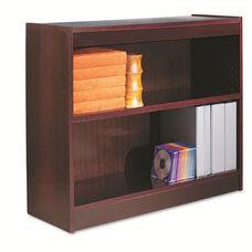 Alera® Square Corner Wood Veneer Bookcase - Two-Shelf - 35-5/8w x 11-3/4d x 30h - Mahogany