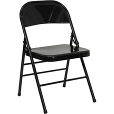 HERCULES Series Triple Braced & Double Hinged Black Metal Folding Chair