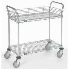 Chrome 2 Shelf Utility Cart-Polyurethane Casters - 21