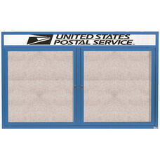 2 Door Outdoor Illuminated Enclosed Bulletin Board with Header and Blue Powder Coated Aluminum Frame - 36