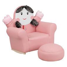 Kids Pink Little Girl Rocker Chair and Footrest