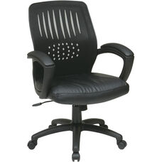 Work Smart Screen Back Contoured Shell Office Chair with Leather Seat and Padded Arms - Black