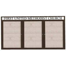 3 Door Outdoor Enclosed Bulletin Board with Header and Black Powder Coated Aluminum Frame - 36