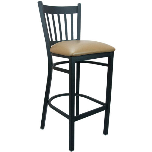 Advantage Black Metal Vertical Slat Back Chair - Beige Padded
