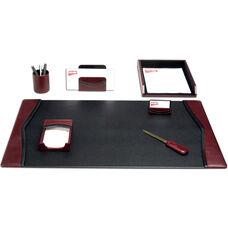 Contemporary Leather 7 Piece Desk Set - Burgundy