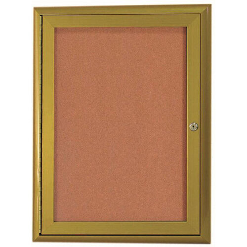 Our 1 Door Enclosed Bulletin Board with Aluminum Waterfall Style Frame with Antique Brass Finish - 36