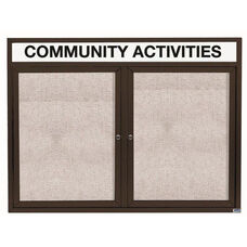 2 Door Outdoor Illuminated Enclosed Bulletin Board with Header and Bronze Anodized Aluminum Frame - 36